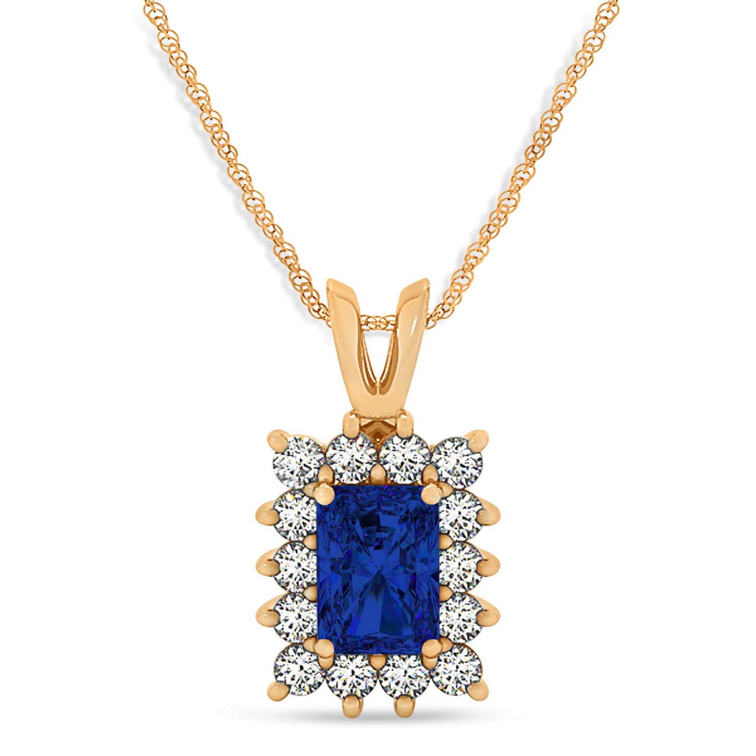 Emerald Shape Blue Sapphire & Diamond Pendant Necklace 14k Rose Gold (2.80ct)