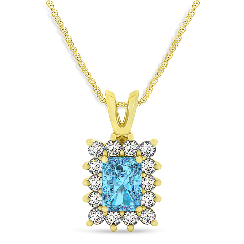 Emerald Shape Blue Topaz & Diamond Pendant Necklace 14k Yellow Gold (3.90ct)