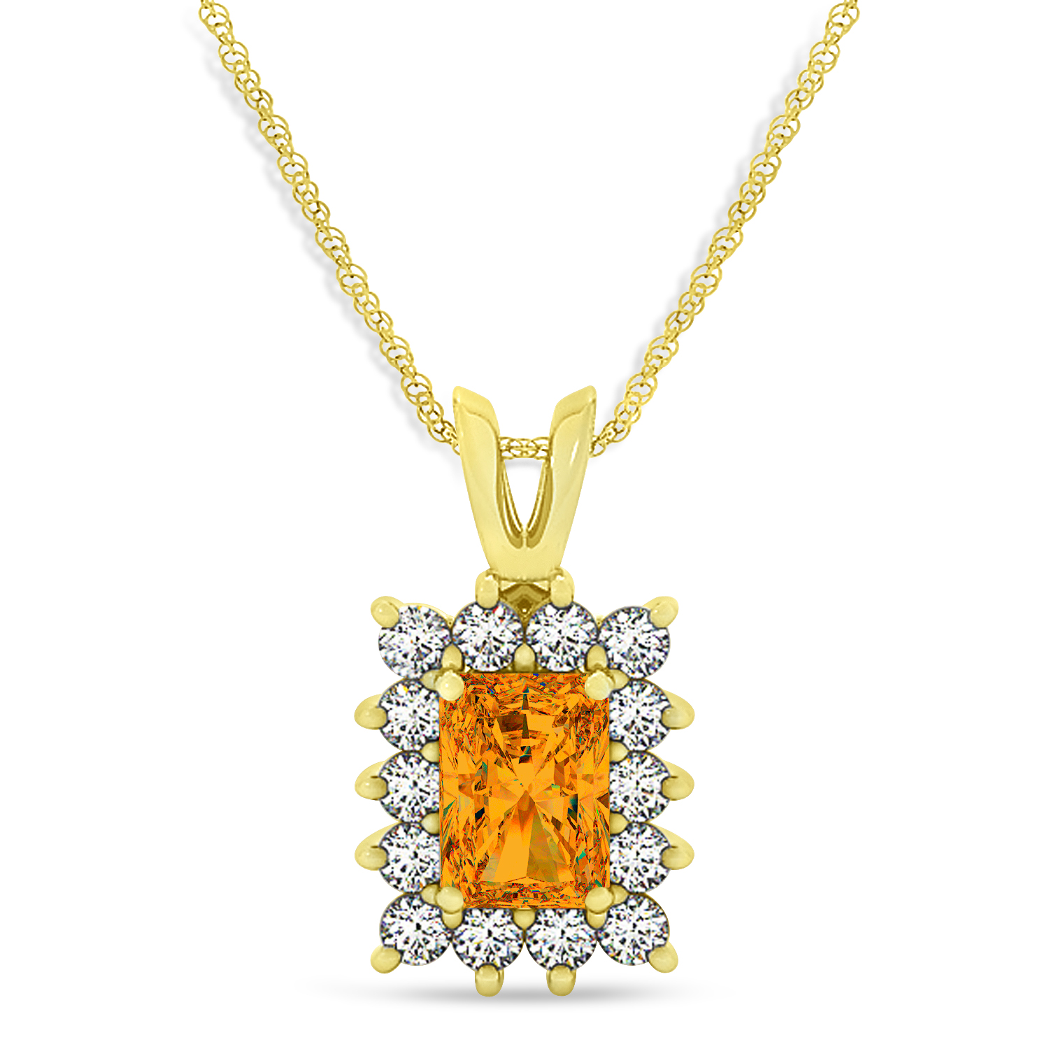 Emerald Shape Citrine & Diamond Pendant Necklace 14k Yellow Gold (2.75ct)