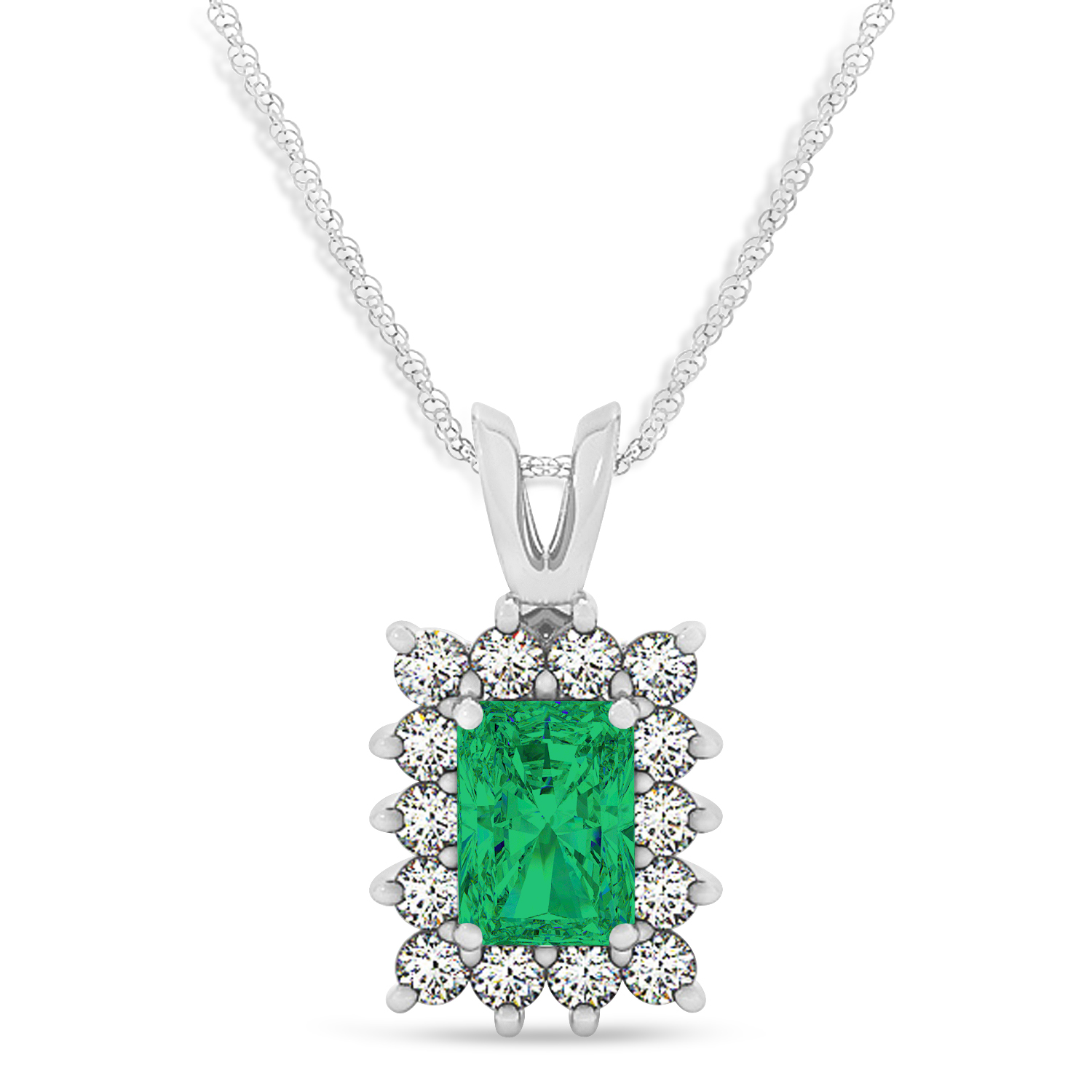 Emerald Shape Emerald & Diamond Pendant Necklace 14k White Gold (2.81ct)