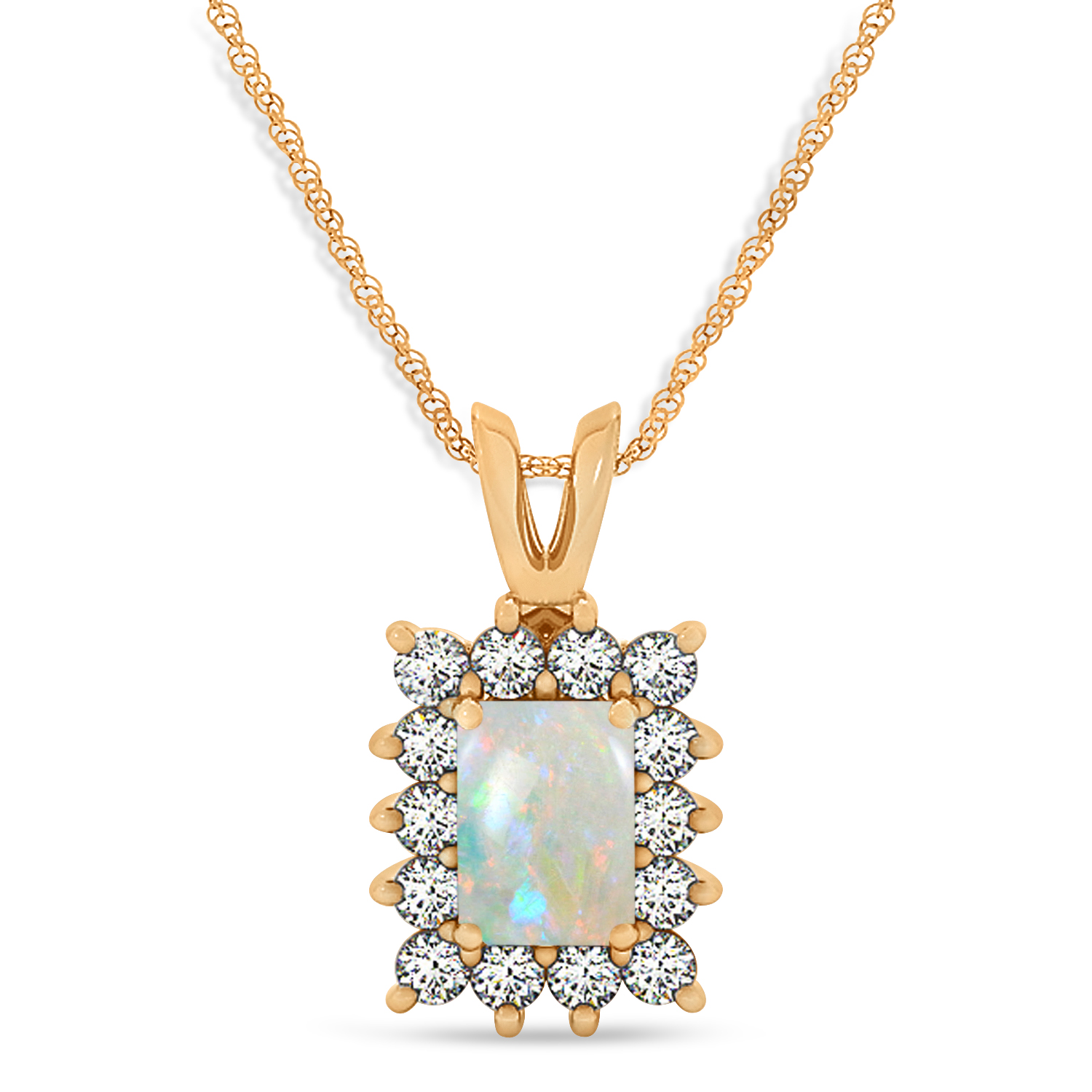 Emerald Shape Opal & Diamond Pendant Necklace 14k Rose Gold (3.00ct)