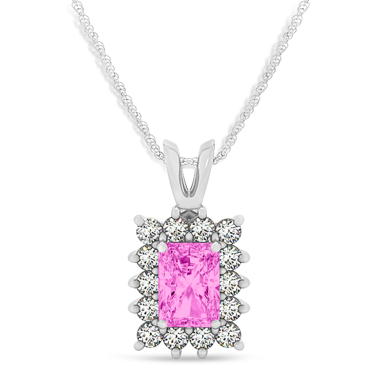 Emerald Shape Pink Sapphire & Diamond Pendant Necklace 14k White Gold (2.80ct)