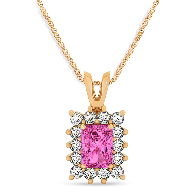 Emerald Shape Pink Topaz & Diamond Pendant Necklace 14k Rose Gold (3.90ct)