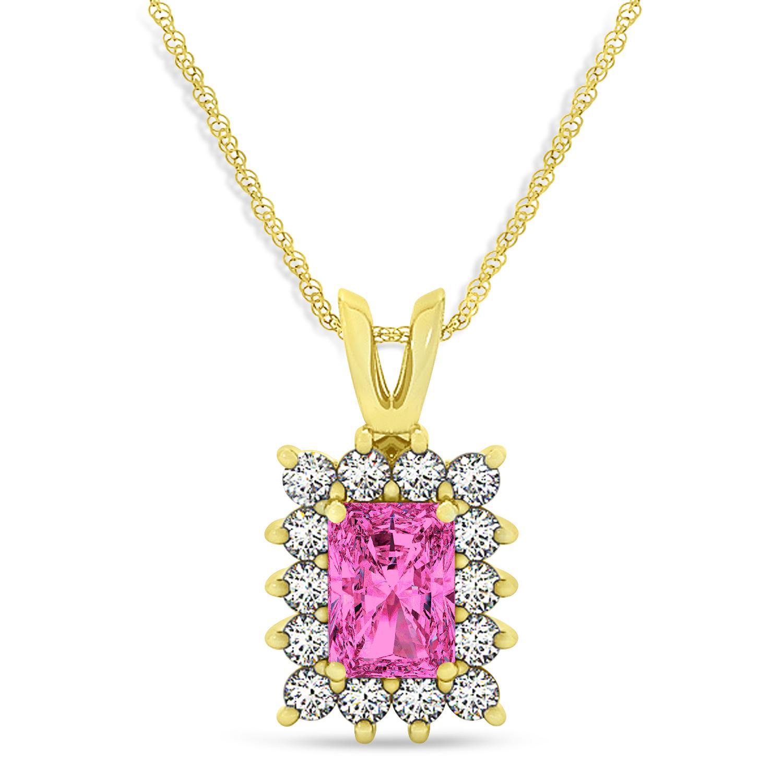 Emerald Shape Pink Topaz & Diamond Pendant Necklace 14k Yellow Gold (3.90ct)