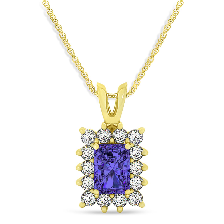 Emerald Shape Tanzanite & Diamond Pendant Necklace 14k Yellow Gold (3.00ct)