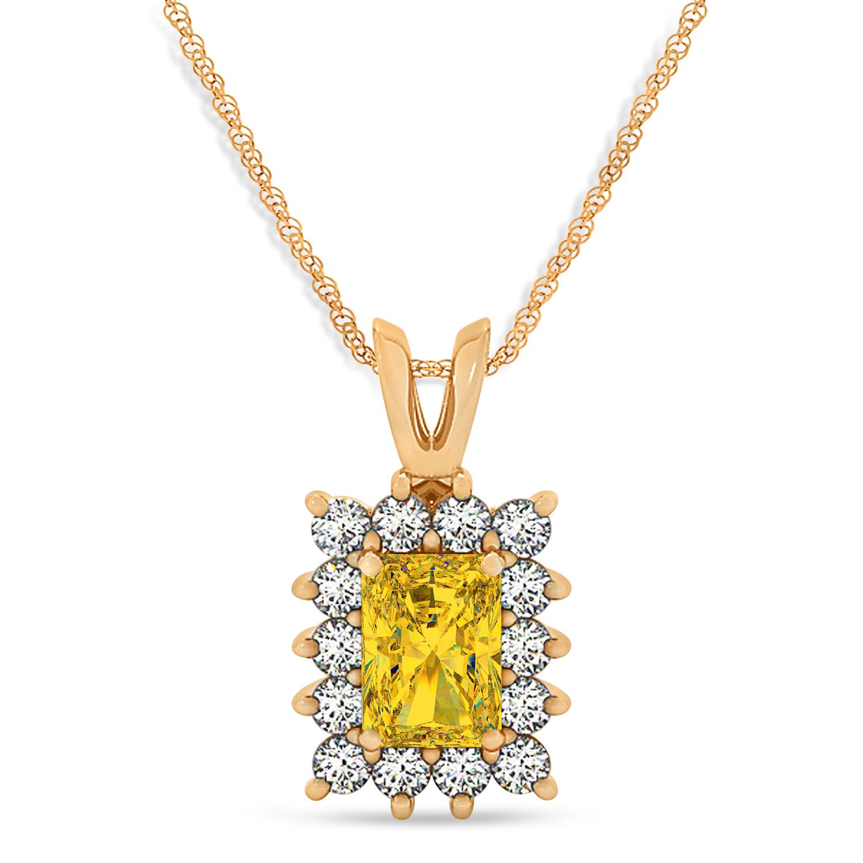 Emerald Shape Yellow Sapphire & Diamond Pendant Necklace 14k Rose Gold (2.80ct)