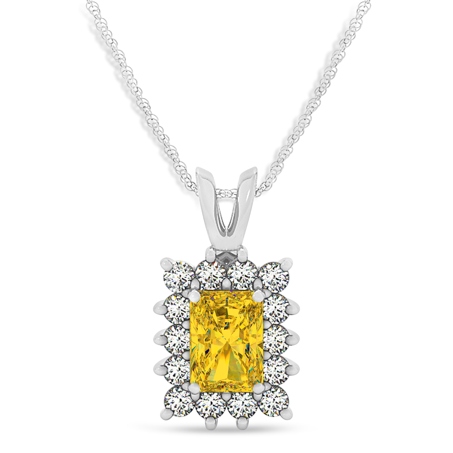 Emerald Shape Yellow Sapphire & Diamond Pendant Necklace 14k White Gold (2.80ct)