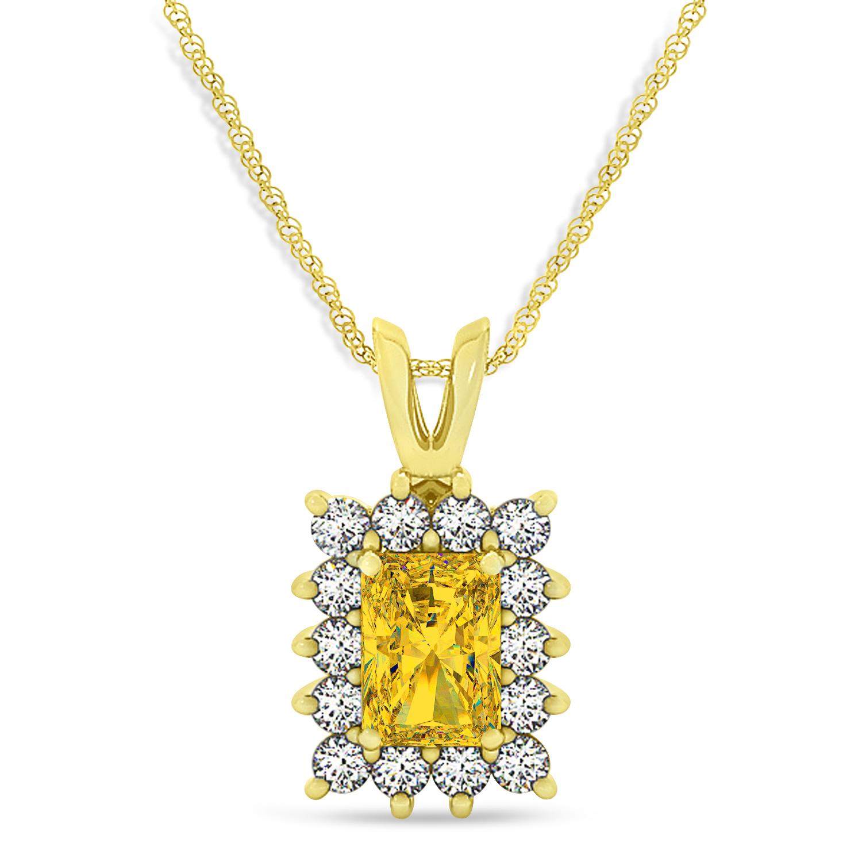 Emerald Shape Yellow Sapphire & Diamond Pendant Necklace 14k Yellow Gold (2.80ct)