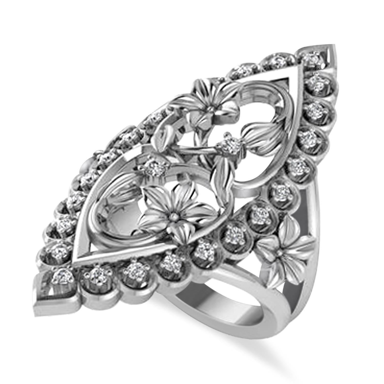 Ladies Diamond Antique Flower Cigar Ring 14k White Gold (0.27 ctw)