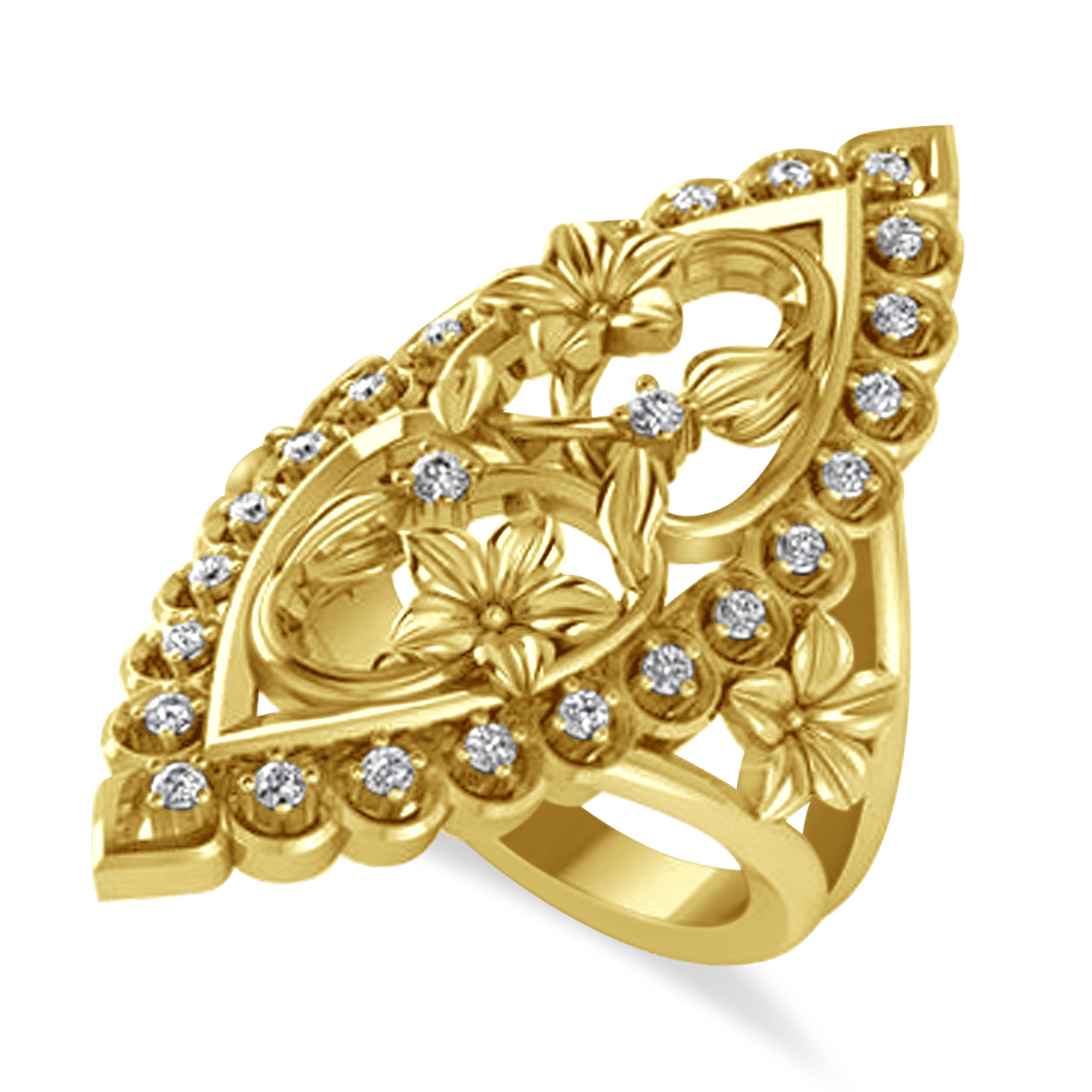 Ladies Diamond Antique Flower Cigar Ring 14k Yellow Gold (0.27 ctw)