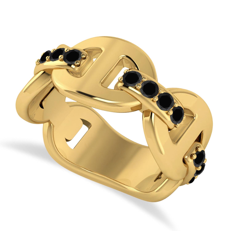 Ladies Black DiamondLink Ring in 14k Yellow Gold (0.48 ctw)