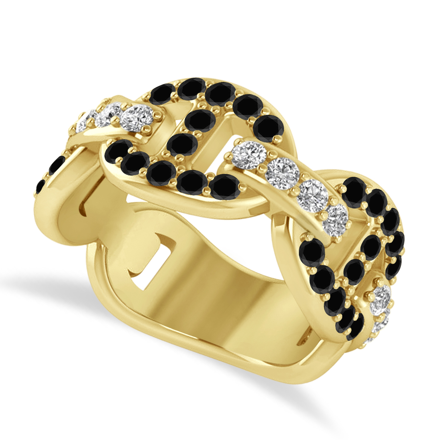 Black & White Diamond Link Ring 14k Yellow Gold (1.20 ctw)