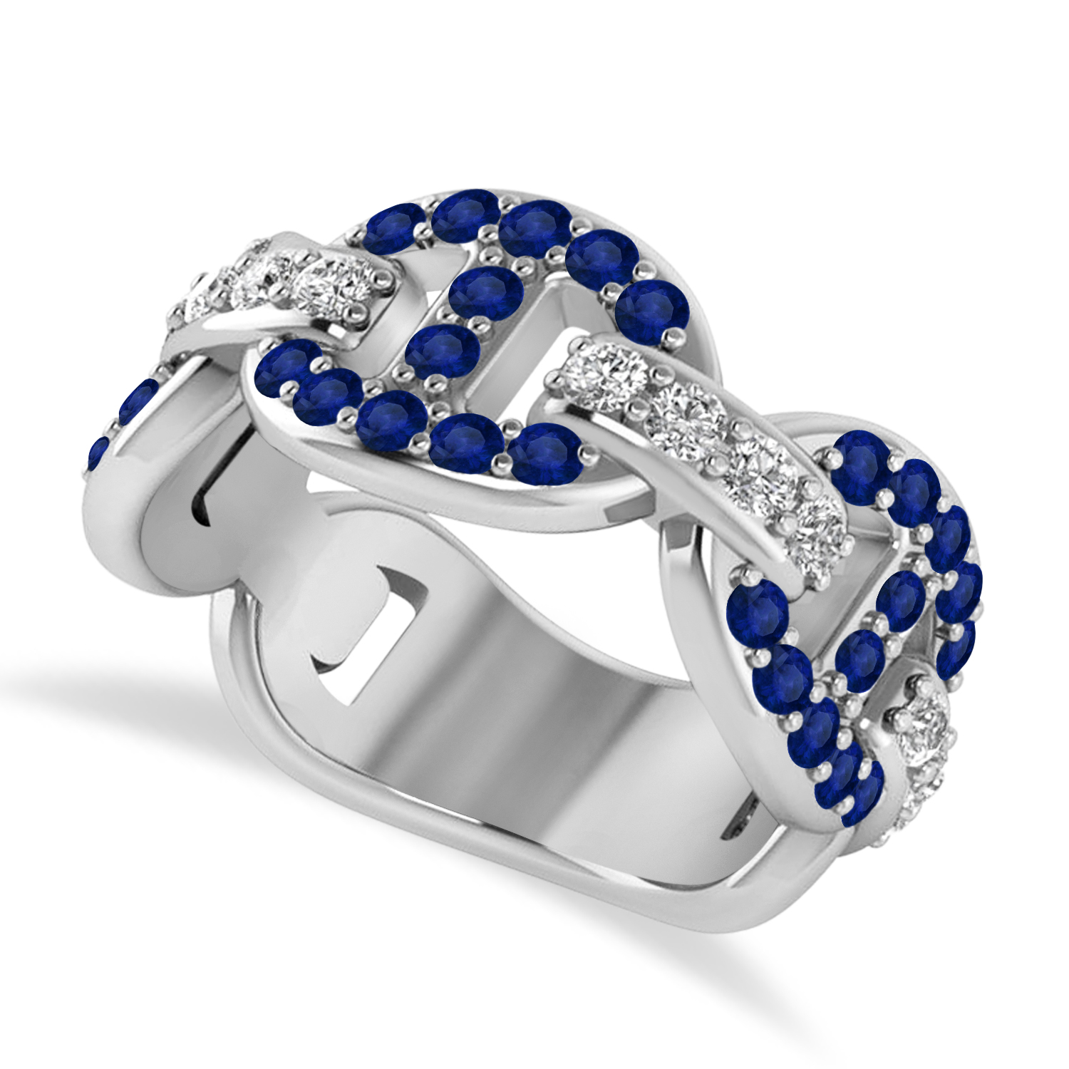Diamond Accented Ladies Blue Sapphire Link Ring 14k White Gold (1.20 ctw)