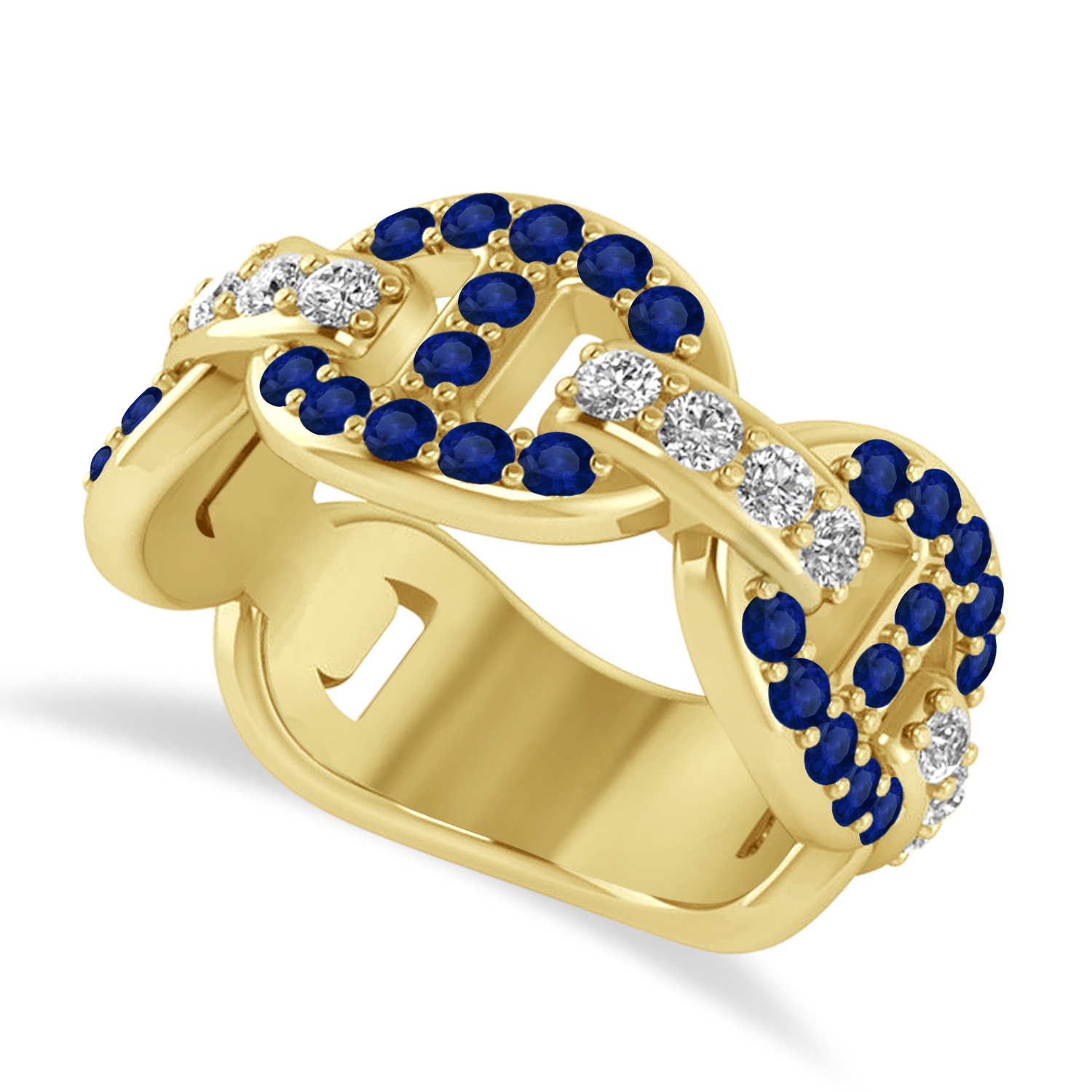Diamond Accented Ladies Blue Sapphire Link Ring 14k Yellow Gold (1.20 ctw)