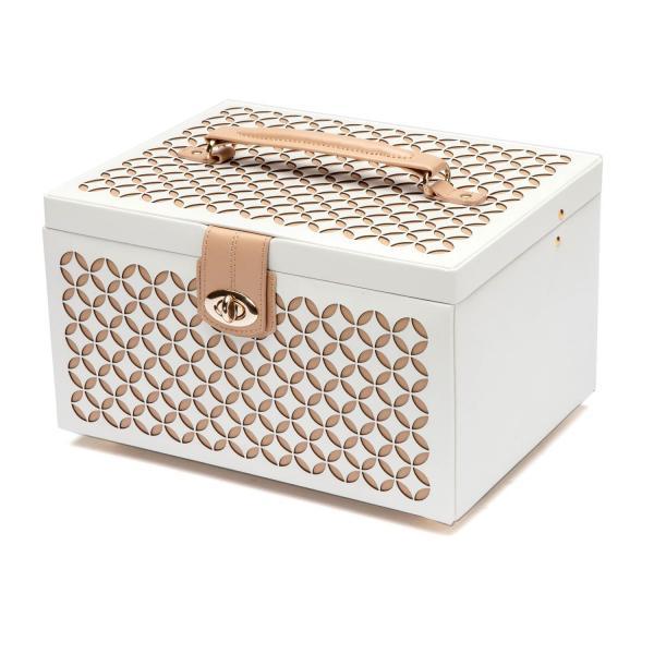 WOLF Chloe Medium Jewelry Box in Cream Pattern Leather Allurez