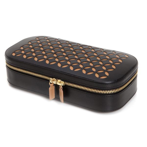 Wolf Designs Chloe Zip Jewelry Case Box in Black Pattern Leather