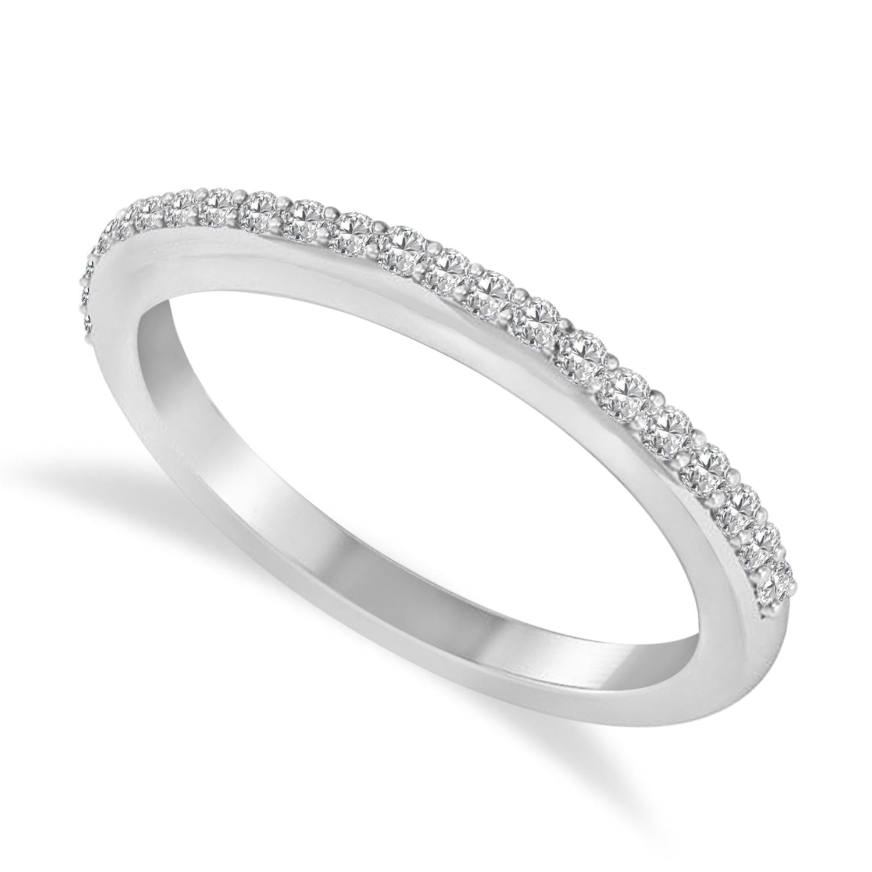 Diamond Half-Eternity Prong-Set Wedding Band 14k White Gold (0.21 ctw)