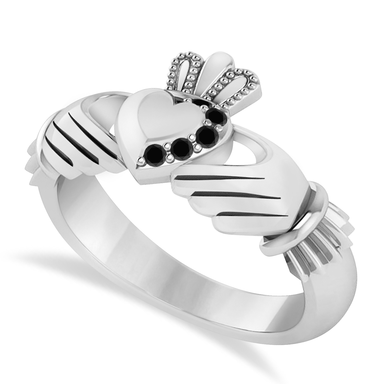 Black Diamond Claddagh Ladies Ring 14k White Gold (0.05ct)