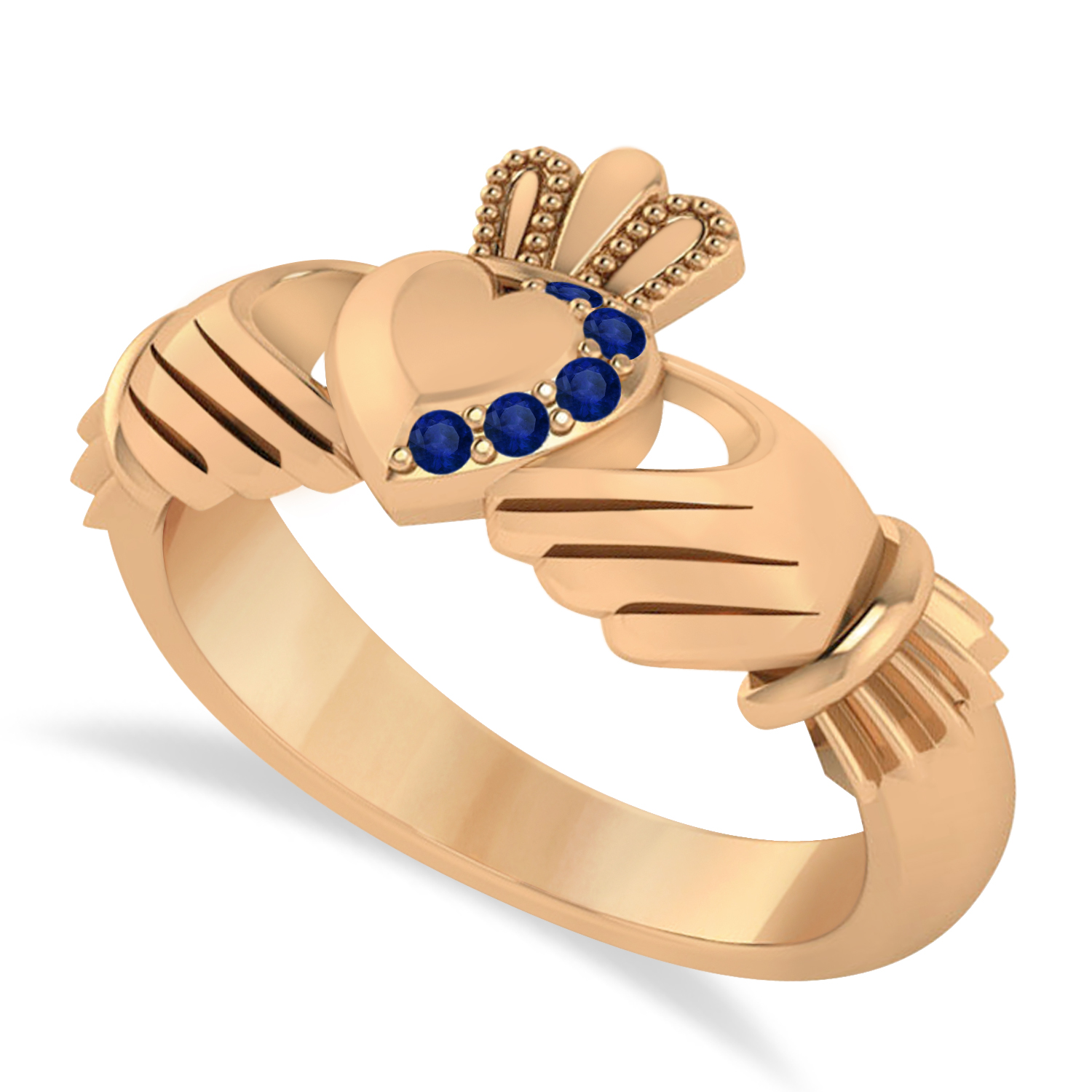 Blue Sapphire Claddagh Ladies Ring 14k Rose Gold (0.05ct)
