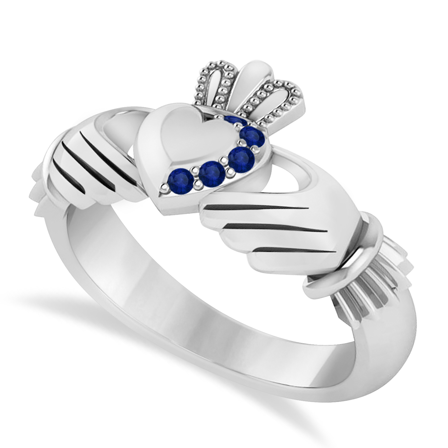 Blue Sapphire Claddagh Ladies Ring 14k White Gold (0.05ct)