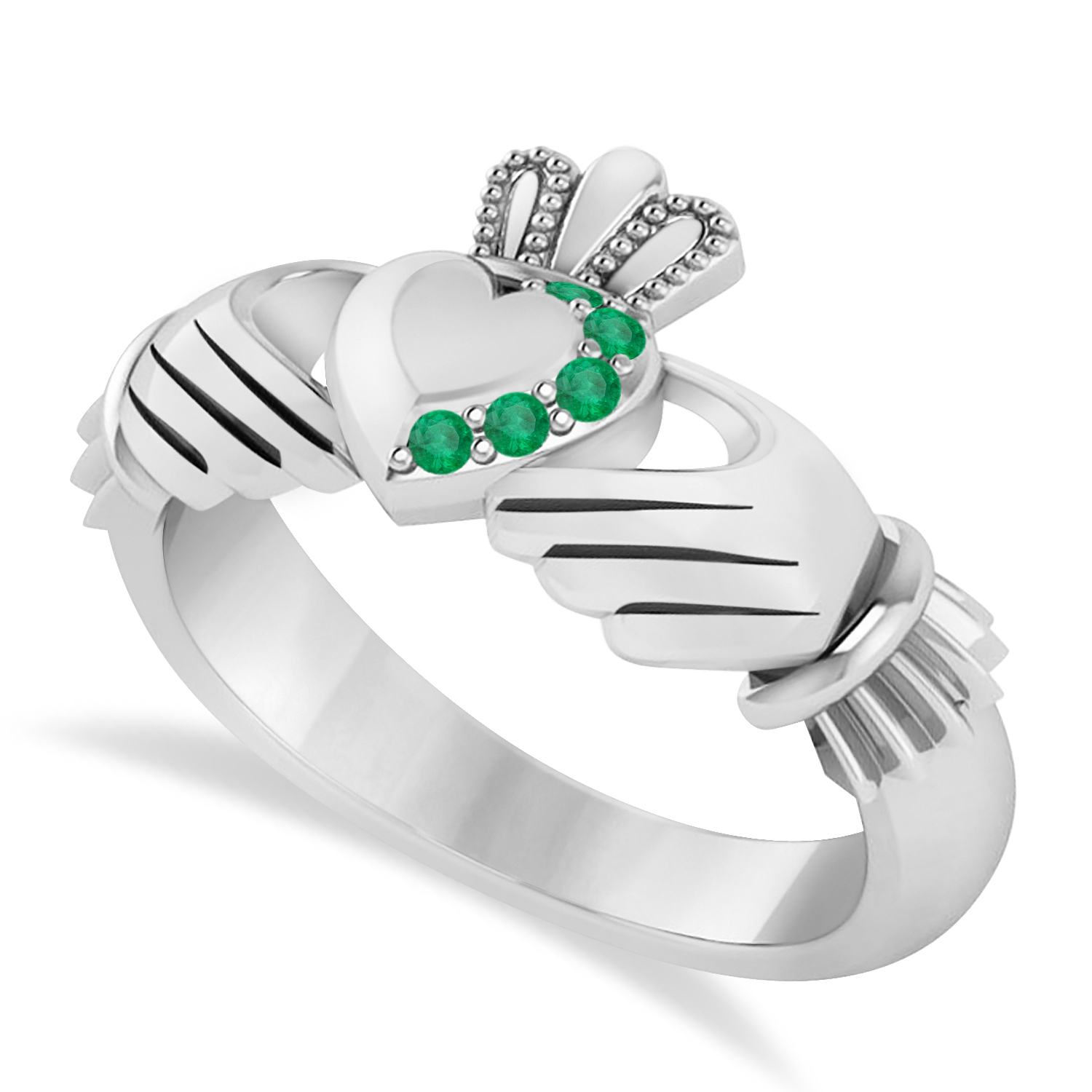 Emerald Claddagh Ladies Ring 14k White Gold (0.05ct)