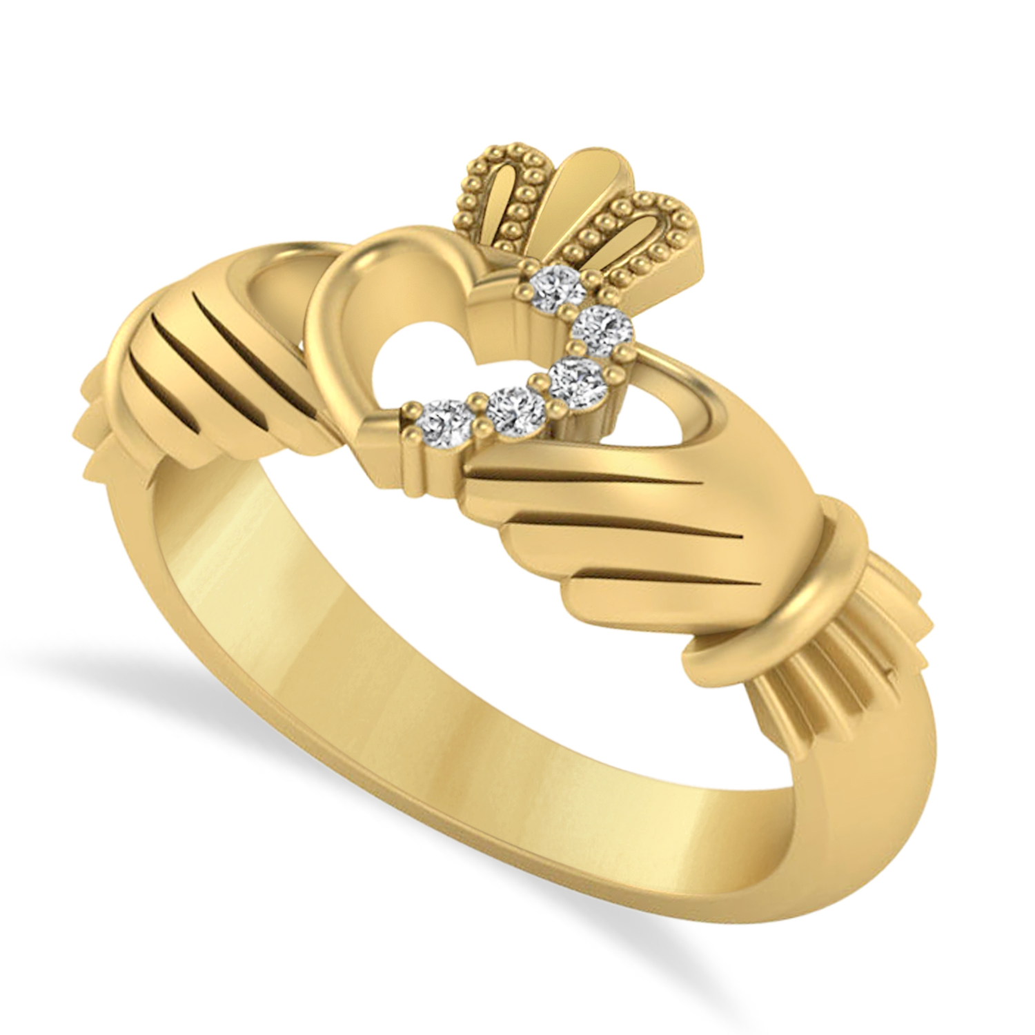Diamond Claddagh Ladies Ring with Hollow Heart 14k Yellow Gold (0.05ct)