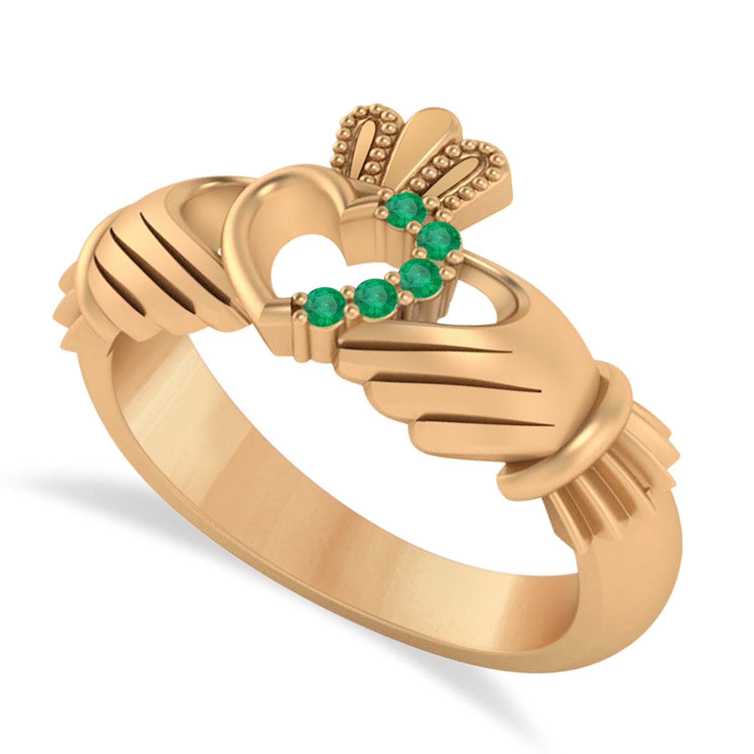 Emerald Claddagh Ladies Ring with Hollow Heart 14k Rose Gold (0.05ct)