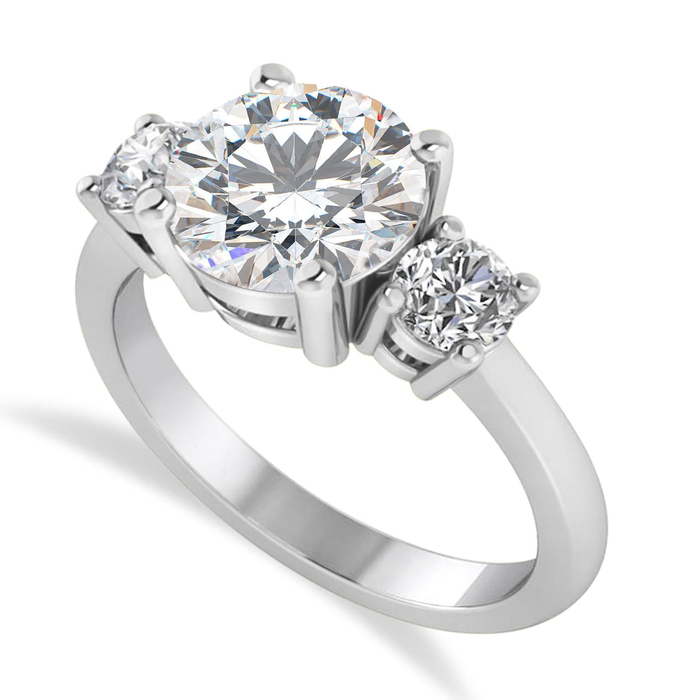 Round 3-Stone Moissanite & Diamond Engagement Ring 14k White Gold (2.50ct)