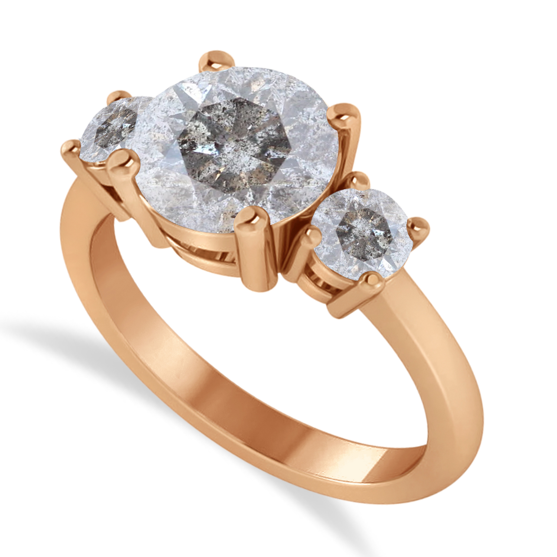 Round 3-Stone Salt & Pepper Diamond Engagement Ring 14k Rose Gold (2.50ct)