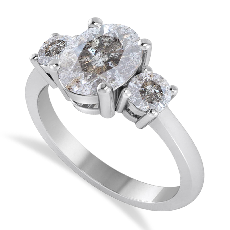 Oval & Round 3-Stone Salt & Pepper Diamond Engagement Ring 14k White Gold (3.00ct)