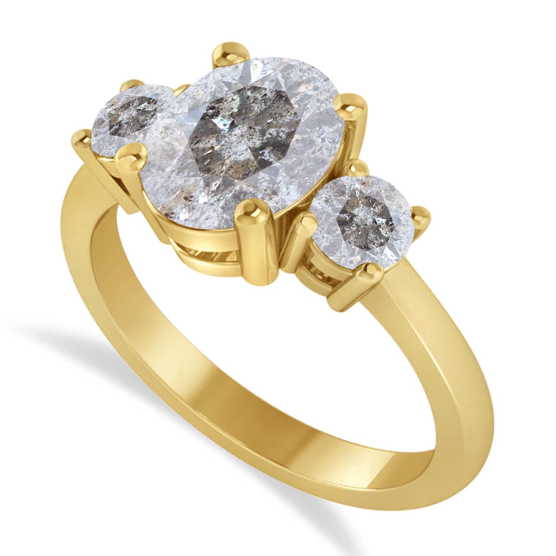 Oval & Round 3-Stone Salt & Pepper Diamond Engagement Ring 14k Yellow Gold (3.00ct)