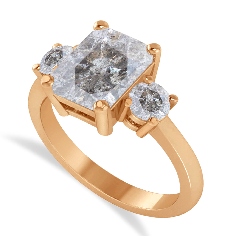 Emerald & Round 3-Stone Salt & Pepper Diamond Engagement Ring 14k Rose Gold (3.00ct)