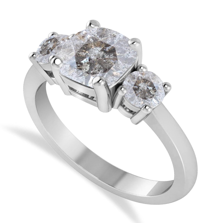 Cushion & Round 3-Stone Salt & Pepper Diamond Engagement Ring 14k White Gold (2.50ct)