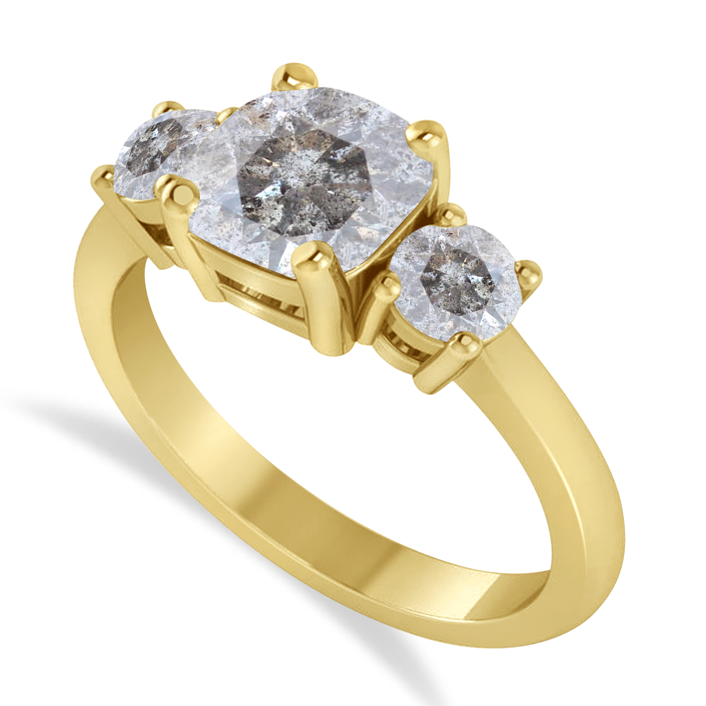 Cushion & Round 3-Stone Salt & Pepper Diamond Engagement Ring 14k Yellow Gold (2.50ct)