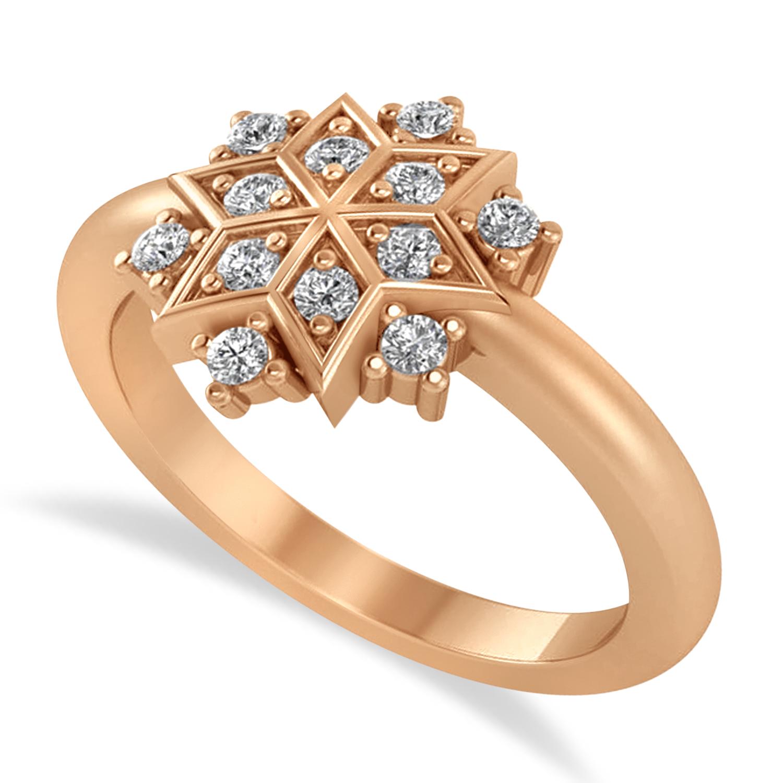 Diamond Snowflake Ring/Wedding Band 14k Rose Gold (0.24ct)