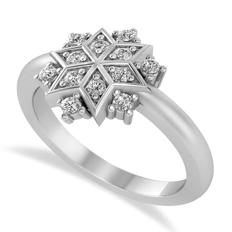 Diamond Snowflake Ring/Wedding Band 14k White Gold (0.24ct)
