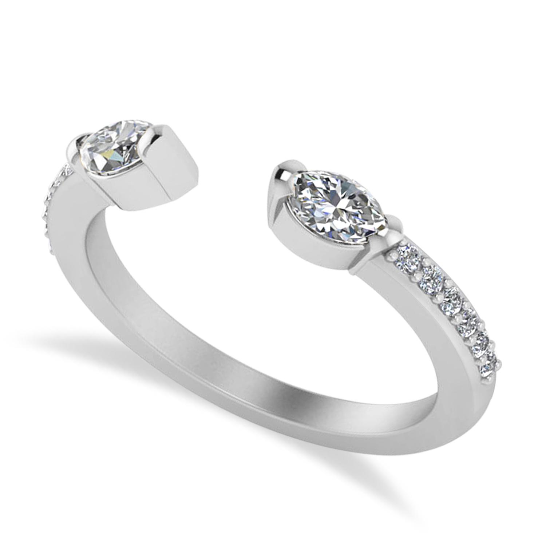 Diamond Open Concept Ring/Band 14k White Gold (0.52ct)