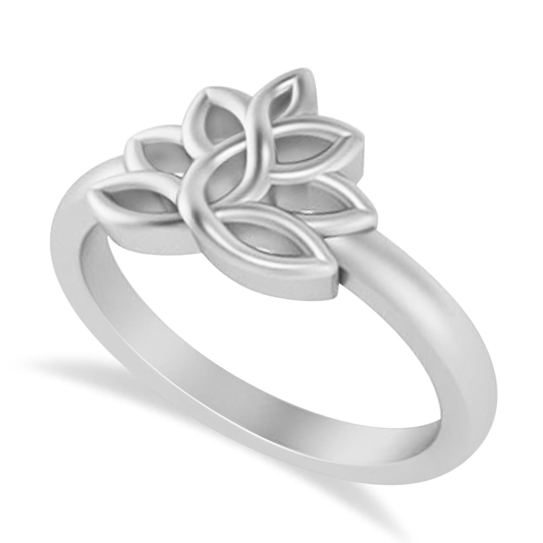 Lotus Flower Fashion Ring 14k White Gold