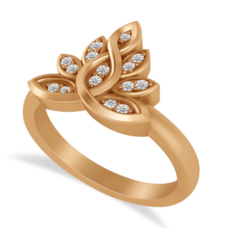 Diamond Lotus Flower Ring 14k Rose Gold (0.15ct)