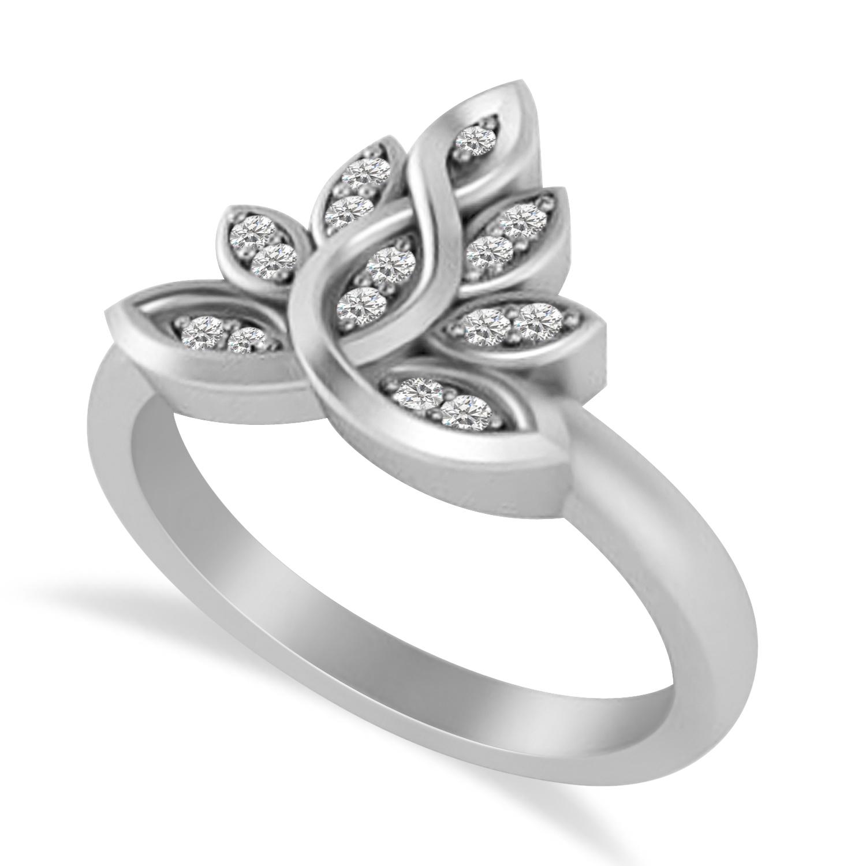 Diamond Lotus Flower Ring 14k White Gold (0.15ct)
