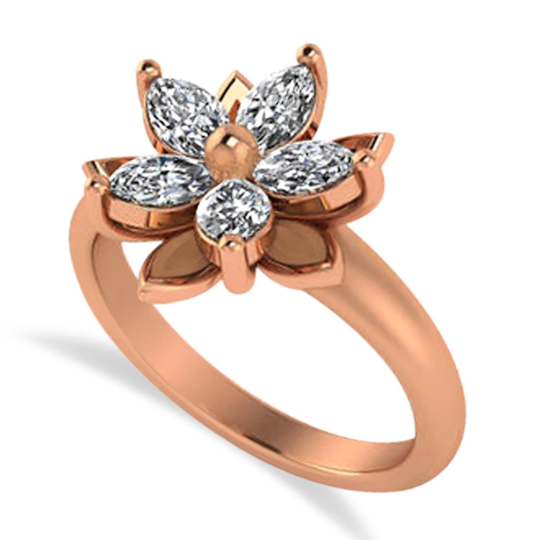 Diamond 5-Petal Flower Fashion Ring 14k Rose Gold (1.00ct)