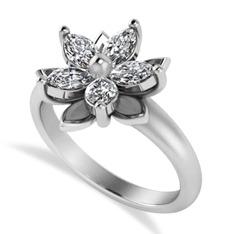 Diamond 5-Petal Flower Fashion Ring 14k White Gold (1.00ct)