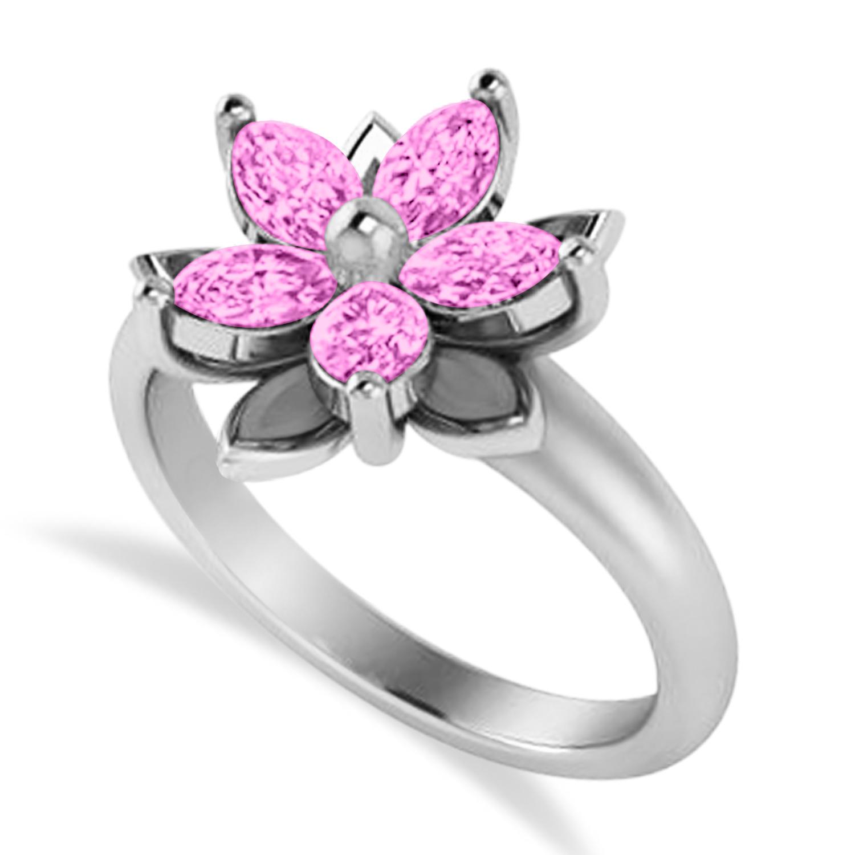 Pink Sapphire 5-Petal Flower Fashion Ring 14k White Gold (1.20ct)