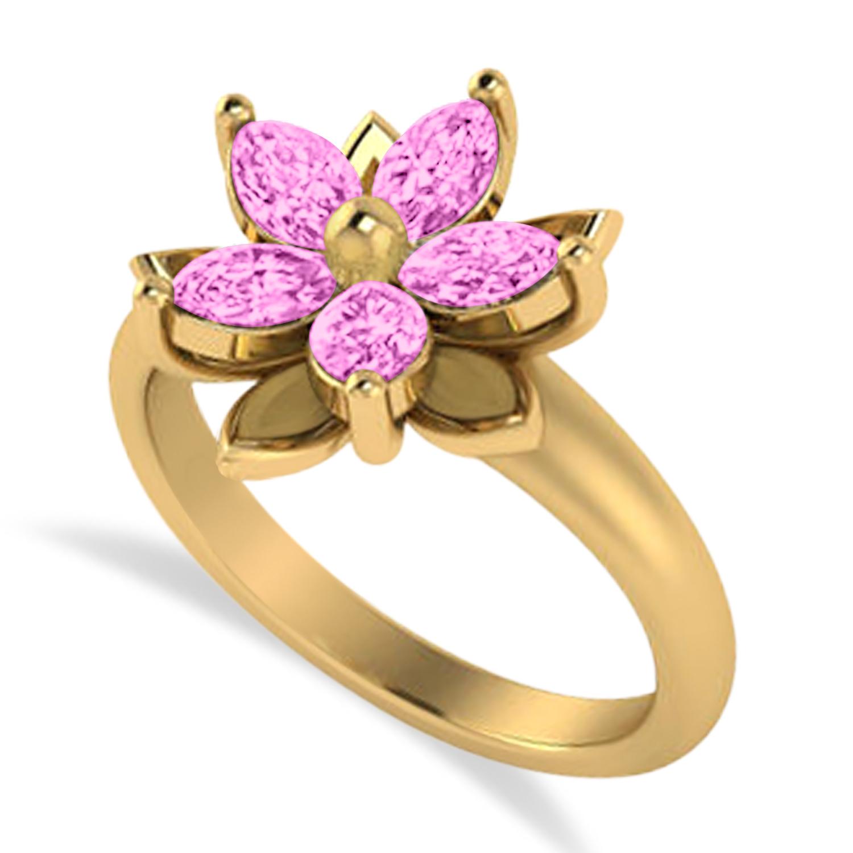 Pink Sapphire 5-Petal Flower Fashion Ring 14k Yellow Gold (1.20ct)