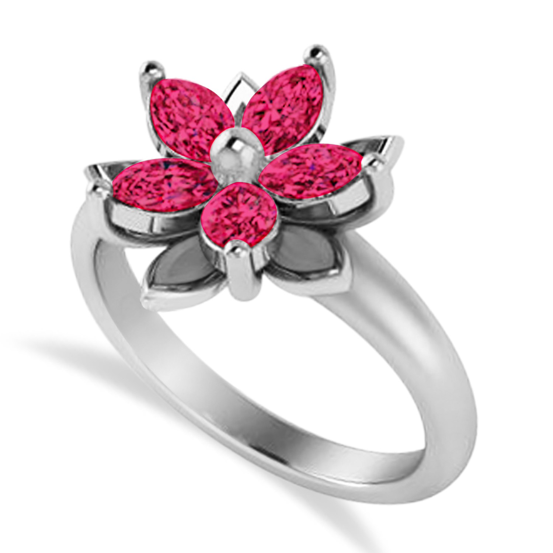 Ruby 5-Petal Flower Fashion Ring 14k White Gold (1.20ct)