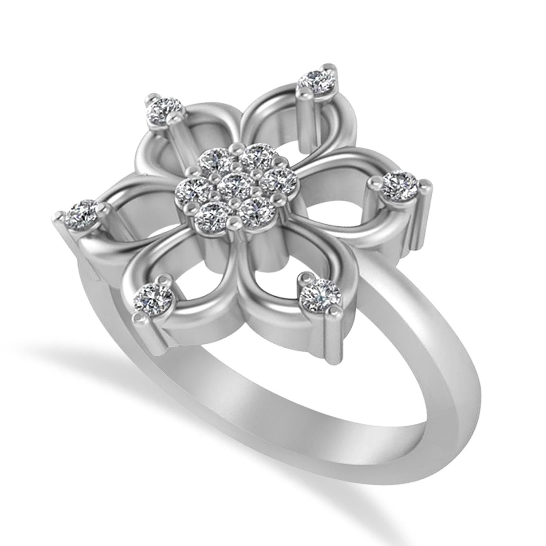 Diamond Six-Petal Flower Ring/Wedding Band 14k White Gold (0.26ct)