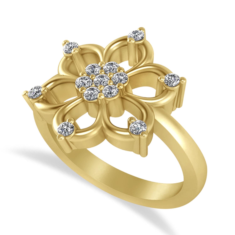 Diamond Six-Petal Flower Ring/Wedding Band 14k Yellow Gold (0.26ct)