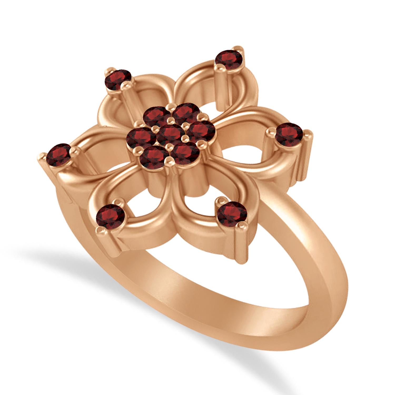 Garnet Six-Petal Flower Ring/Wedding Band 14k Rose Gold (0.26ct)