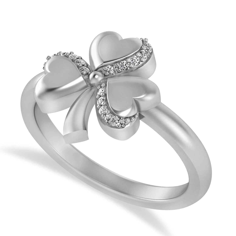 Diamond Three Leafed Clover Ring 14k White Gold (0.08ct)