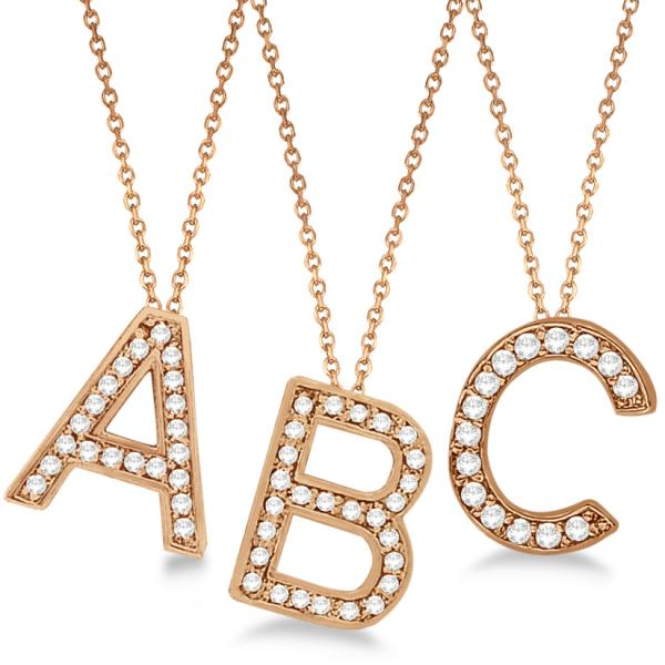 Custom tilted diamond block letter initial necklace 14k for Rose gold personalized jewelry